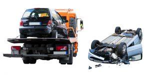 grúa asistiendo en un accidente
